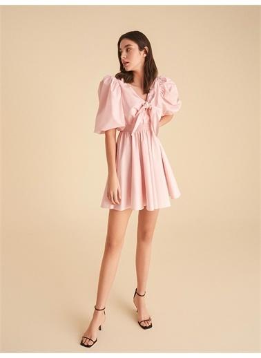 Nocturne Fiyonk Bağlamalı Mini Elbise Pembe